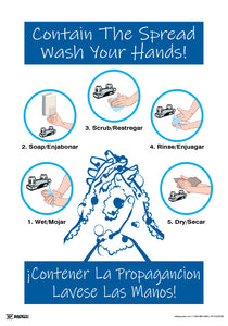 Contain The Spread Wash Your Hands (Spanish Bilingual) - Safety Poster