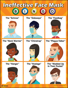 Ineffective Face Mask BINGO - Safety Poster