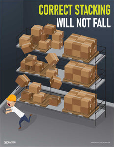 Correct Stacking Will Not Fall – Safety Poster