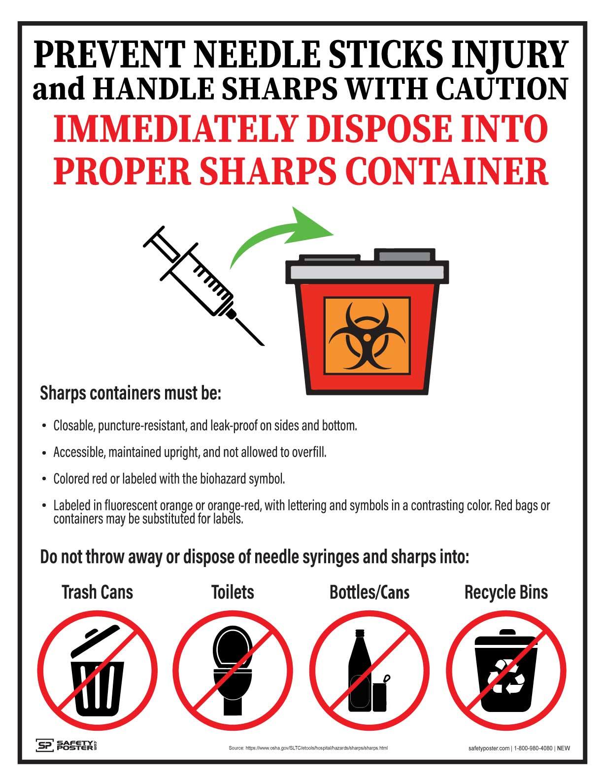 Prevent Needle Sticks Injury, Handle Sharps With Caution - Safety Poster