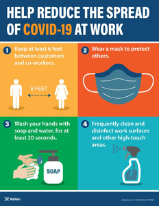 Help Reduce The Spread Of Covid At Work - Safety Poster