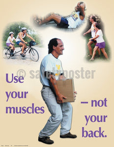 Use Your Muscles Not Back - Safety Poster General