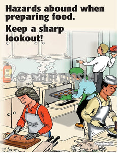 Safety Poster - Hazards Around When Preparing Food - safetyposter.com