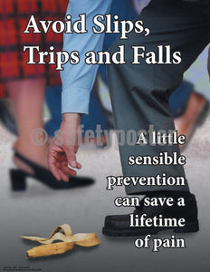 Safety Poster - Avoid Slips Trips And Falls A Little Sensible Prevention - safetyposter.com