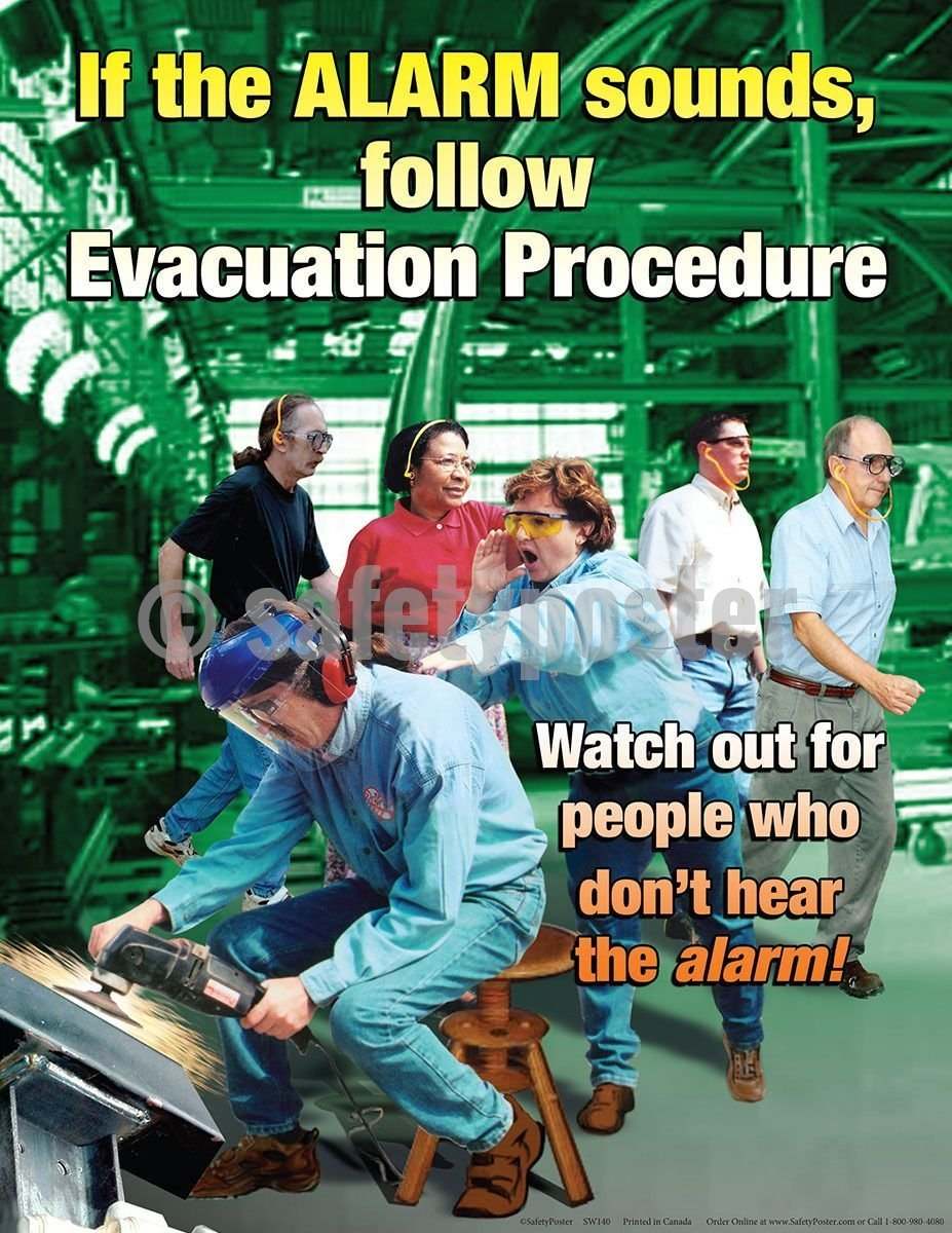 Safety Poster - If The Alarm Sounds Follow Evacuation Procedures - safetyposter.com