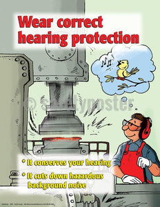 Safety Poster - Wear Correct Hearing Protection - safetyposter.com