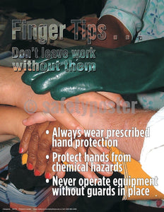 Finger Tips Dont Leave Work Without Them - Safety Poster Injury Types Personal Protective Equipment