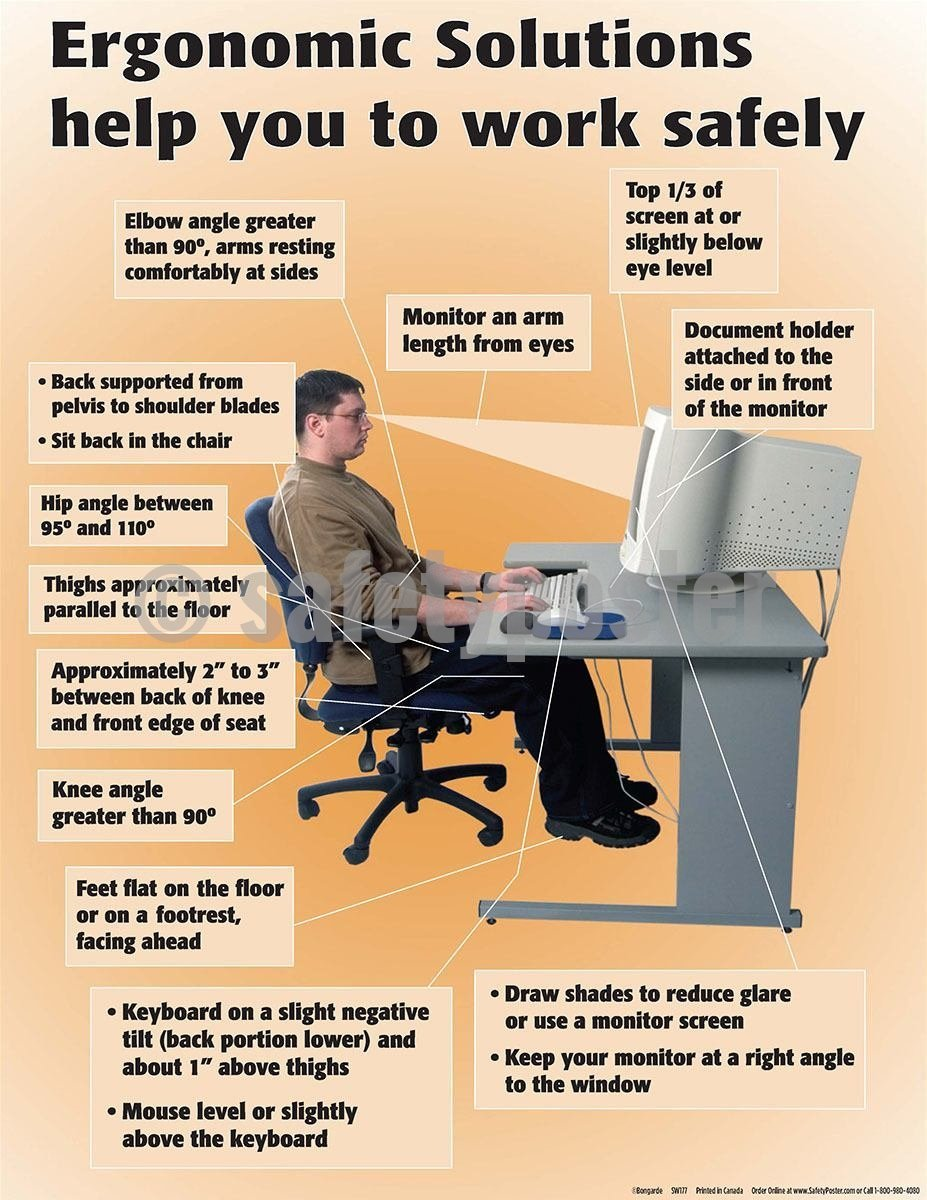 Safety Poster - Ergonomic Solutions Help You To Work Safely - safetyposter.com