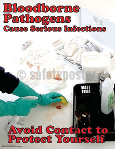 Bloodborne Pathogens Cause Serious Infections - Safety Poster Health & Wellness