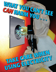 Take Care When Using Electricity - Safety Poster General