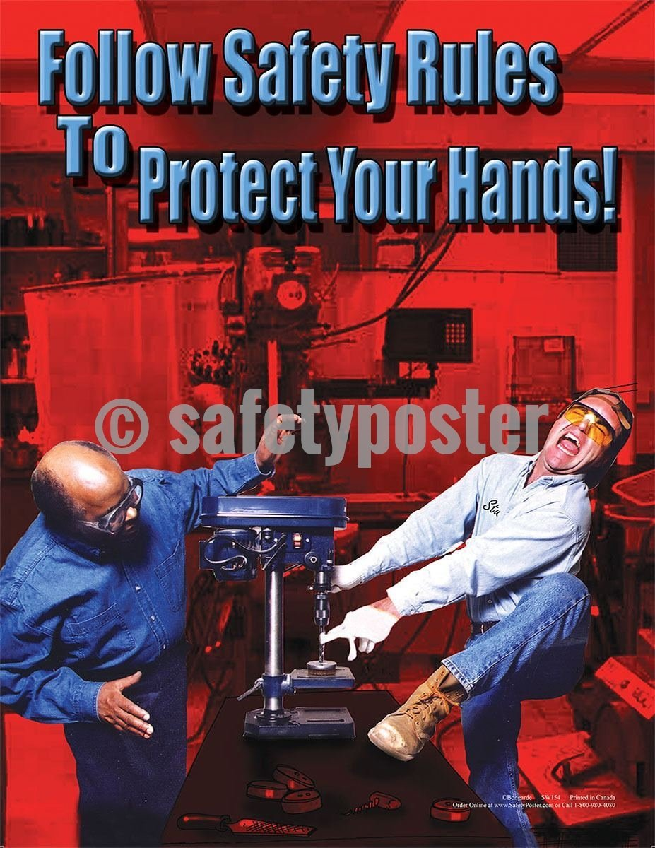 Safety Poster - Follow Safety Rules To Protect Your Hands - safetyposter.com
