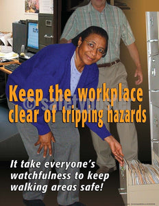 Safety Poster - Keep The Workplace Clear Of Tripping Hazards - safetyposter.com