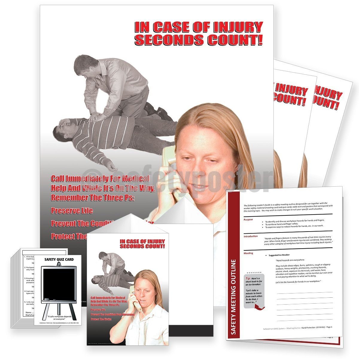 Safety Meeting Kit - In Case Of Injury Seconds Count Call Immediately Kits