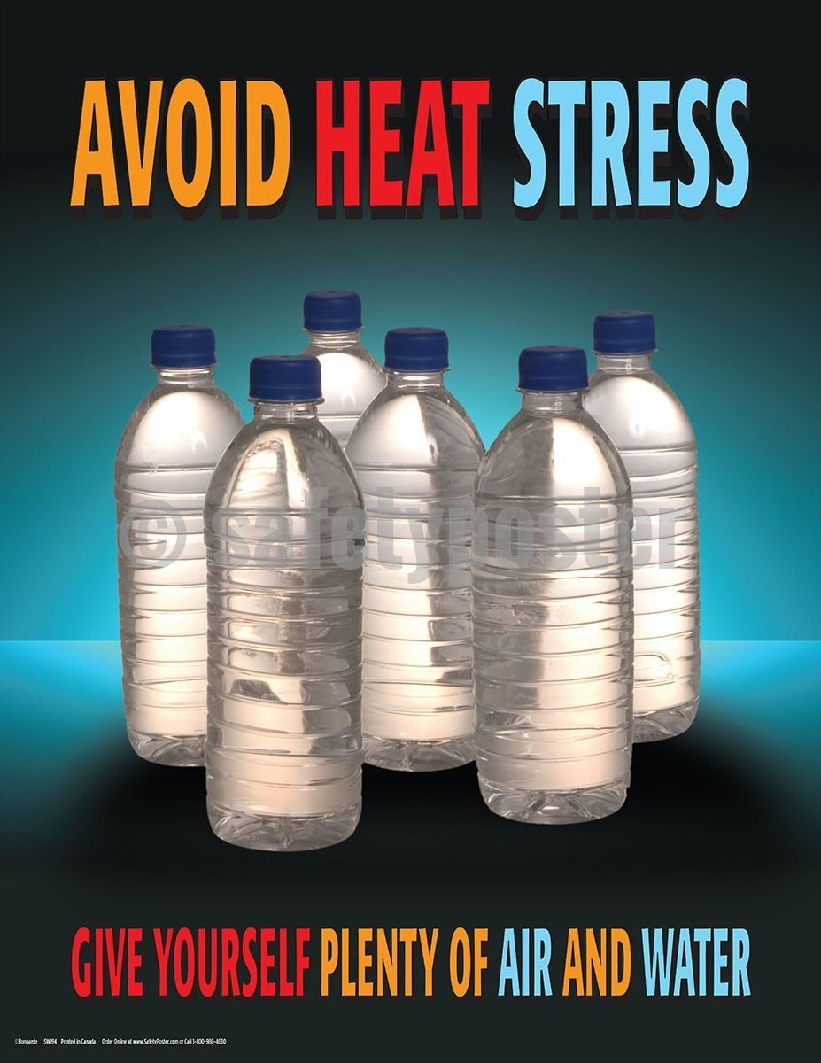 Safety Poster - Avoid Heat Stress Give Yourself Plenty Of Air And Water - safetyposter.com