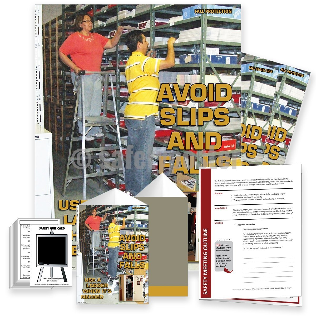 Safety Meeting Kit - Avoid Slips Trips and Falls Use A Ladder