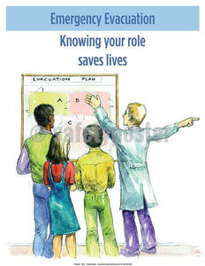 Safety Poster - Emergency Evacuation Knowing Your Role Saves Lives - safetyposter.com