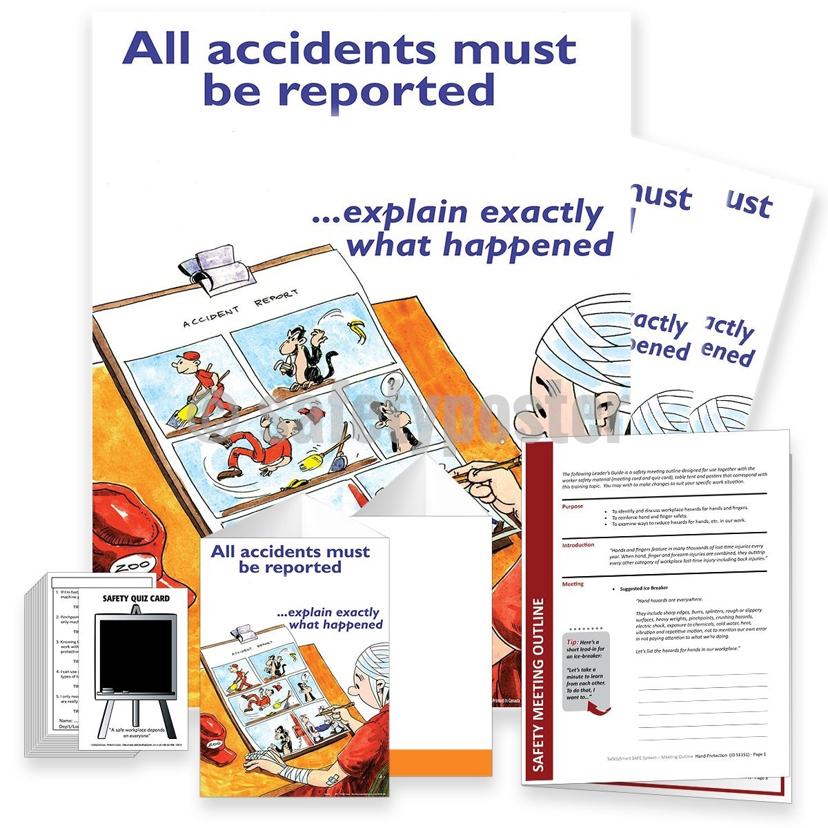 Safety Meeting Kit - All Accidents Must Be Reported Cartoon Kits