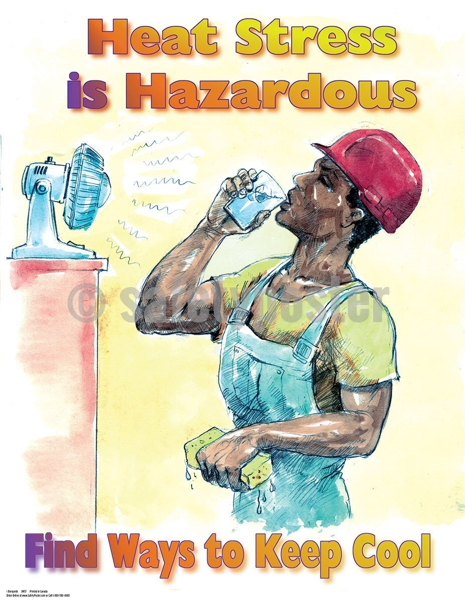 Safety Poster - Heat Stress Is Hazardous Find Ways To Keep Cool - safetyposter.com