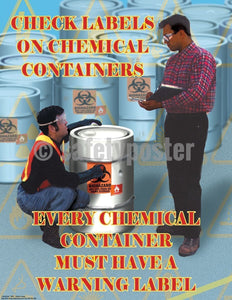 Safety Poster - Check Labels On Chemical Containers - safetyposter.com