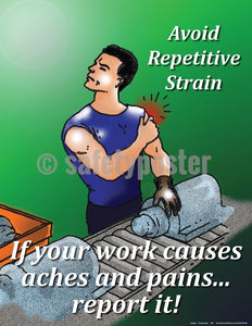 Safety Poster - If Your Work Causes Aches And Pains Report It - safetyposter.com