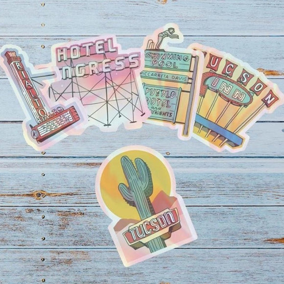 Tucson Holographic Neon Stickers by Juju & Moxie