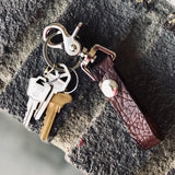 Textured Leather and Brass Key Ring