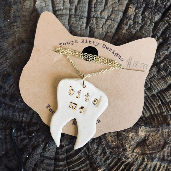 Bite Me Ceramic Pendant Necklace