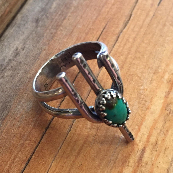 Saguaro ring with turquoise