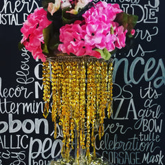 Gold Chandelier with Hydrangea Centerpieces for Wedding, Mis Quince, Baby Shower
