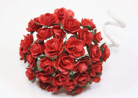 "0.75"" Mini Mulberry Paper Flower Red(120 Flowers)"
