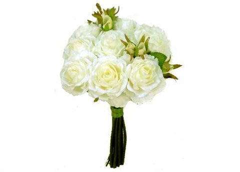 Rose Silk Flower Bouquet Cream