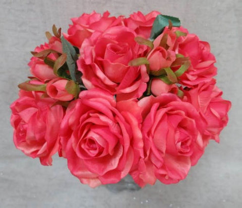Rose Silk Flower Bouquet Dark Coral