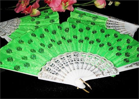 Apple Green Cloth Hand Fans with White Plastic Handle (10 pcs)