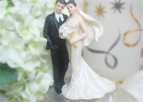 6 Bouquet Poly Resin Wedding Cake Topper Couple (12 Pieces)