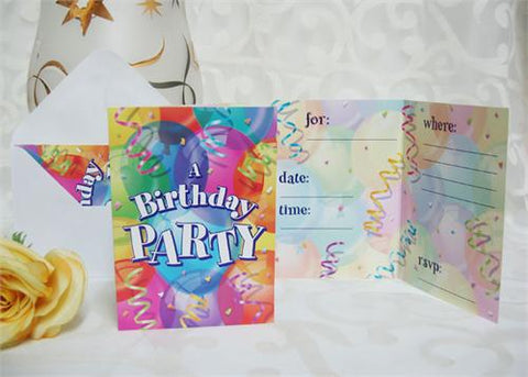 Birthday Party Invitation (Set of 8)
