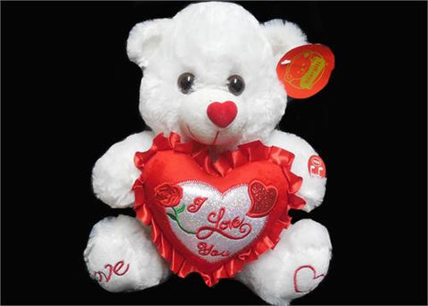 "10"" White Valentines Musical Teddy Bear with Red ""I love You"" Heart (12 Pieces)"