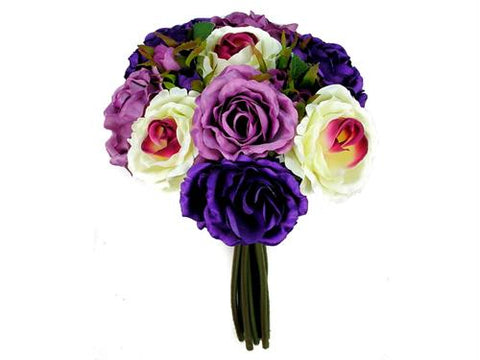 Rose Silk Flower Bouquet Lavender Mix