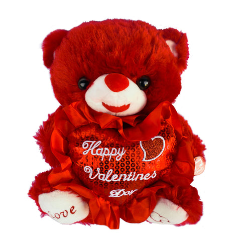 "10"" Red Musical Bear with ""Happy Valentines Day"" Heart  (12 Pieces)"