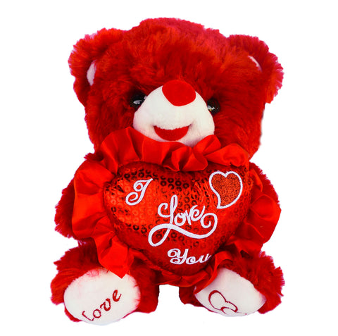 "10"" Red Musical Valentine Bear with ""I love You"" Heart  (12 Pieces)"