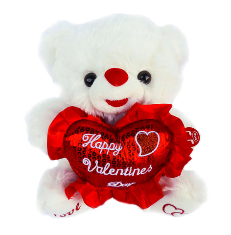 "10"" White Musical Bear with ""Happy Valentines Day"" Heart  (12 Pieces)"