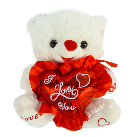 "10"" White Musical Valentine Bear with Red ""I love You"" Heart  (12 Pieces)"