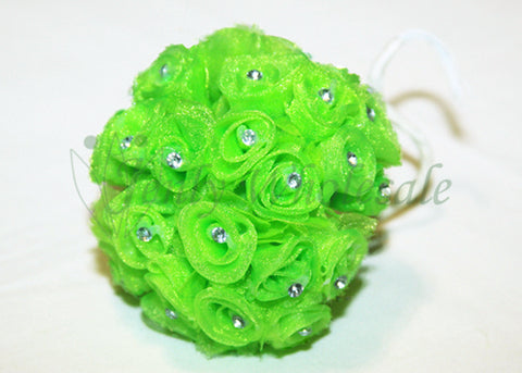 Apple Green Organza Ribbon Rose with Rhinestone (108 Flowers)