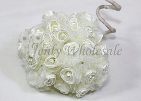 Ivory Organza & Satin Rose Bud With Pearl (108 Flowers)