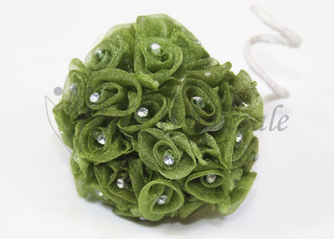 Moss Organza Ribbon Rose with Rhinestone (108 Flowers)