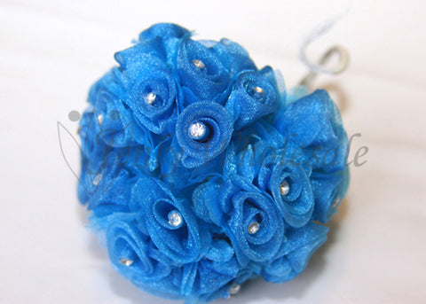 Turquoise Organza Ribbon Rose with Rhinestone (108 Flowers)