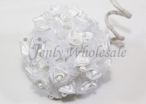 White Organza & Satin Rose Bud With Pearl (108 Flowers)