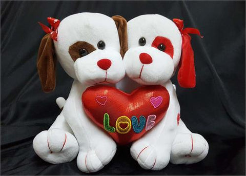 10 Valentine Musical Couple Hugging Dog White (1 Piece)