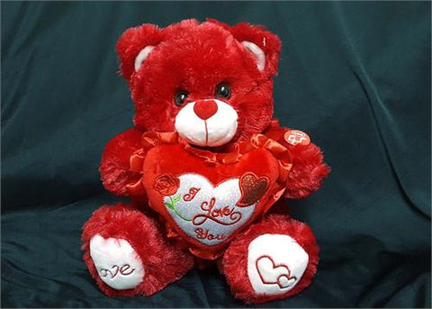 "10"" Red Valentines Musical Bear with Red ""I Love You"" Heart (1 Piece)"