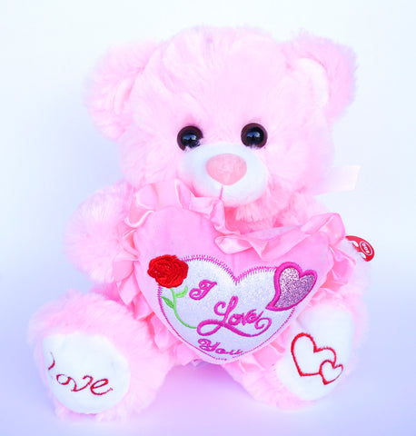"10"" Pink Musical Teddy Bear with ""I Love You"" Heart (1 Piece)"