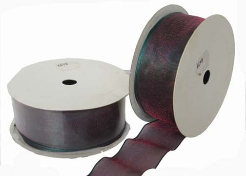 "1-1/2"" Nylon Wired Ribbon Green Burgundy (10 Yards)"